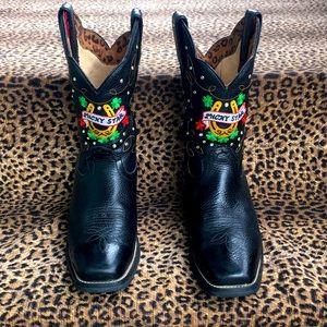 Tony Lama Lucky Star Black Cowboy Boots 7.5